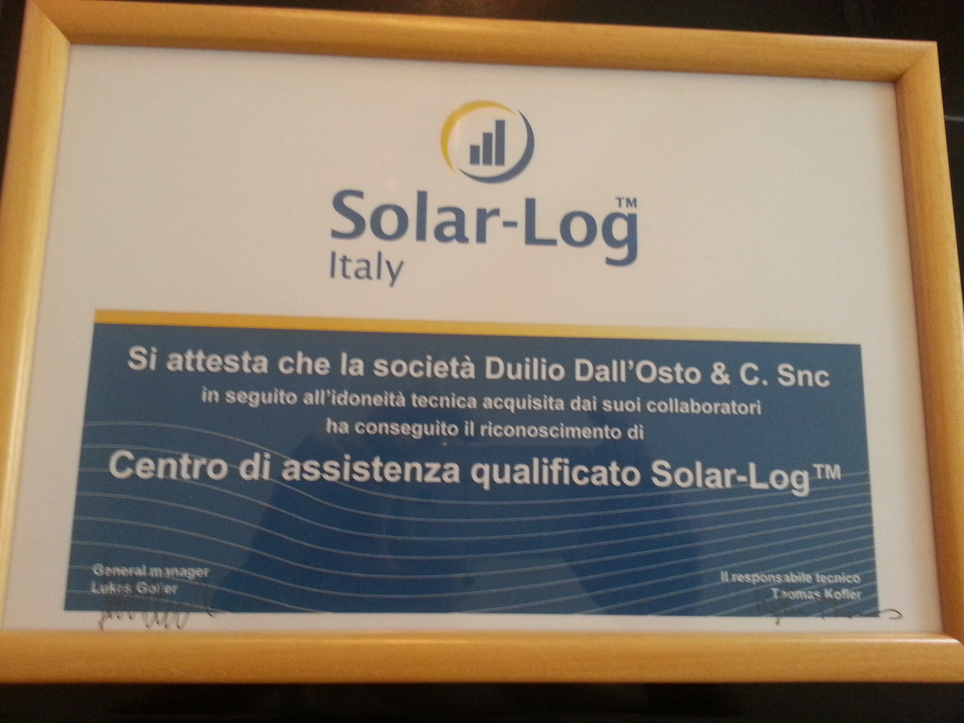 Certificazione SolarLog